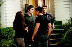 MY ABSOLUTE FAVORITE SCENE FROM TWILIGHT ECLIPSE!!!!!   Bella Swan: Edward?  Edward Cullen: If you ever touch her against her will again...  Bella Swan: Edward! Don't do this!  Jacob Black: She's not sure what she wants!  Bella Swan: Don't do this here!  Edward Cullen: Let me give you a clue: wait for her to say the words.  Jacob Black: Fine, and she will.  Bella Swan: Jacob, just go, okay?