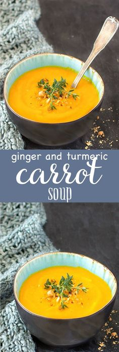 Simple ginger and turmeric carrot soup: creamy, satisfying, nourishing and flavorful. Serve it alongside a salad for a light lunch or as a starter for dinner or brunch curcumin turmeric Vegetarian Recipes, Cooking Recipes, Healthy Recipes, Milk Recipes, Simple Soup Recipes, Juice Recipes, Kitchen Recipes, Delicious Recipes, Beef Recipes