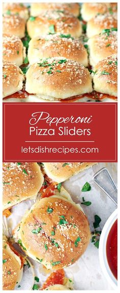 Pepperoni Pizza Sliders Pepperoni Pizza Sliders Recipe: Slider buns are stuffed with sliced pepperoni and two kinds of cheese in these fun, mini sandwiches. Serve marinara sauce on the side for dipping. Pizza Slider, Slider Buns, Best Appetizer Recipes, Mini Appetizers, Tailgating Recipes, Pepperoni Recipes, Pizza Recipes, Savoury Recipes, Cheese Recipes