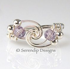 June Birthstone Ring Sterling Silver Twist by SerendipDesignsJewel, $24.00
