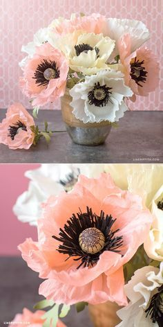 paper flower tutorial Poppy petals are very delicate, so extra fine crepe is really conducive to giving crepe paper poppies that realistic quality. They also happen to be fairly Faux Flowers, Diy Flowers, Fabric Flowers, Paper Flower Patterns, Tissue Paper Flowers, Paper Roses, Paper Peonies, Diy Paper, Paper Crafting