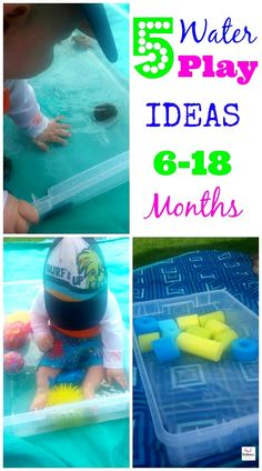 5 easy ways to play with water for your 6-18 month old with adult supervision. Summer is a great time for your little one to get out and experience water play.