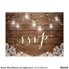Rustic Wood Mason Jar Lights Lace Wedding RSVP Postcard Customisable Wedding Invitations