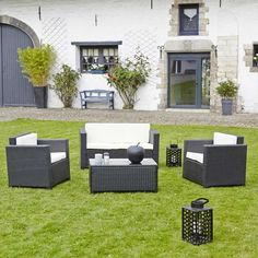 garden and co salon de jardin en resine tressee noir canape 2 fauteuils