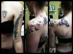 My new watercolor tattoo. Raven tattoo idea :* with my feather and birds tattoo in watercolor