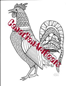 Downloadable Rooster Zentangle inspired Coloring Page by CanadianArtBeats on Etsy