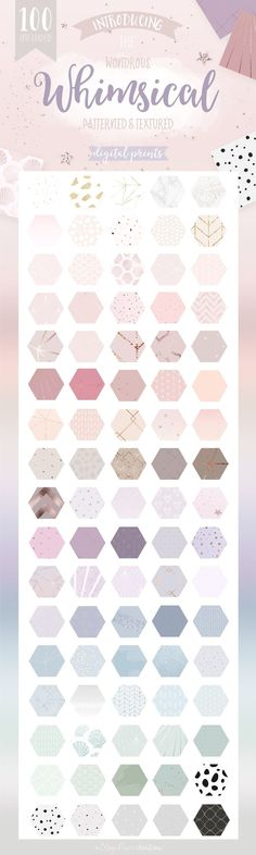 Whimsical Branding Patterns by Blog Pixie on @creativemarket Pattern design perfect for sewing, wallpaper, textile, moda or simple for inspiration and good new ideas. Hand drawn graphic art with cute elements.