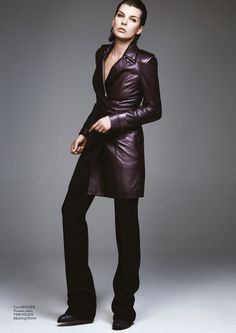 Milla Jovovich models Mugler leather coat with Veronique Branquinho pants and shoes for Glass Magazine Fall 2016 editorial