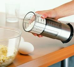 Keep an adjustable measuring cup so you don't have to go hunting for the 3/4 cup measure while your batter overmixes.