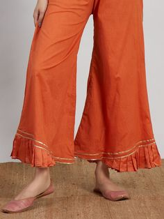 Orange Chanderi Hand Embroidered Kurta with Cotton Palazzo and Pink Hand Block Printed - Set of 3 Sleeves Designs For Dresses, Dress Neck Designs, Blouse Designs, Kurta Designs Women, Salwar Designs, Frock Fashion, Fashion Pants, Stylish Dresses For Girls, Kurta Neck Design