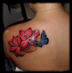 Do you know that Lily tattoo designs are the new trend in the fashion world? Check out this article in which we compiled some of the best Lily tattoo ideas. Realistic Butterfly Tattoo, Butterfly With Flowers Tattoo, Butterfly Tattoo Cover Up, Lily Flower Tattoos, Butterfly Tattoo On Shoulder, Butterfly Tattoos For Women, Flower Tattoo Back, Butterfly Tattoo Designs, Back Tattoo