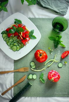 cucumber tomato basil salad. It's official: I'm addicted.