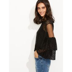 Black Lace Mesh Insert Keyhole Back Blouse With Cami Top ($23) ❤ liked on Polyvore featuring tops, blouses, white lace blouse, summer blouses, lace collar blouse, sexy white blouse and white ruffle blouse