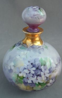 Antique 1903 Limoges French Perfume Bottle R Delinieres Lavender Violets | eBay