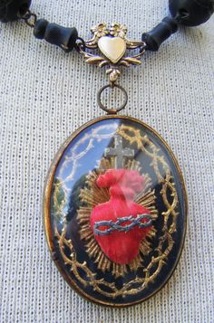 Antique sacred heart necklace by madonnaenchanted