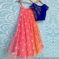 Buy Ravishing Blue-Peach Designer Embroidered Net & Velvet Lehenga Choli at Rs. Get latest Lehenga Kameez at Ethnic Factory. Indian Lehenga, Half Saree Lehenga, Kids Lehenga, Lehnga Dress, Lehenga Blouse, Indian Gowns, Indian Attire, Indian Wear, Indian Outfits