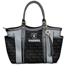 NFL-licensed custom-designed shoulder tote with team logo in designer pattern. Team color poly twill, faux leather handles and logo charm tassel. Oakland Raiders Shoes, Raiders Team, Oakland Raiders Football, Raiders Nails, Raiders Gifts, Raiders Stuff, Gifts For Football Fans, Football Season, Raider Nation