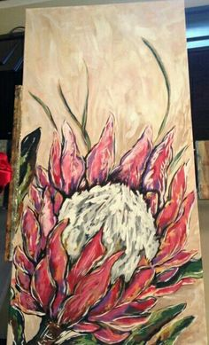 Flower Paintings, Easy Paintings, Art Flowers, Flower Art, Protea Art, Aboriginal Art, Botanical Art, Om, Hawaii