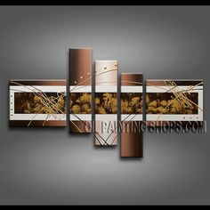 Amazing Modern Abstract Painting Hand Painted Oil Painting Stretched Ready To Hang Abstract. This 5 panels canvas wall art is hand painted by A.Qiang, instock - $172. To see more, visit OilPaintingShops.com