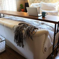 Rolling Bed Table with Vintage Casters –The Morgan Bed Table is a fabulous option for those of us who enjoy pajama work days and breakfast in bed. In addition to the luxuries this table offers, it also functions well for practical everyday use. All things considered, the Morgan BnB Table should be a staple for anyone who likes to work hard and relax later. It takes care of both. |  • 2″ thick walnut slab with matte clear coat  • Clear coated raw steel frame with artisan welds