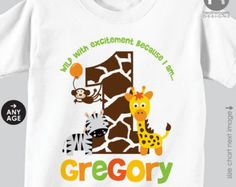 Jungle Birthday Shirt or Bodysuit Boy Front & Back Shirt