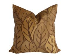 Contemporary Gold Pillows, Decorative Throw Pillows, Textured, Large Leaves, Gold, Antique Gold, NEW Fall Couch Sofa Cushion Covers, 18x18