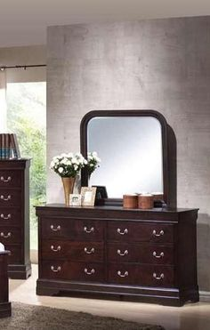 Louis Philippe Traditional Cappuccino Dresser & Mirror