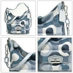 Coach Kristin Op Art Shoulder Convertible Hobo Bag Purse Handbag 14860 Blue Mutli.  FREE SHIPPING TODAY!