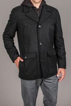 Black Rivet Single Breast Pea Coat With Removable Hood