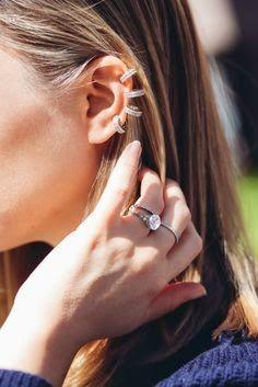 earrings: multiple stacked earrings and ear cuffs diamond engagement ring Dainty Jewelry, Jewelry Box, Jewelry Ideas, Taryn Manning, Bcbg, Wedding Frames, Wedding Rings, Wedding Ideas, Earring Trends