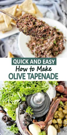 Easy recipe for How to Make Olive Tapenade in the food procesrror in minutes. Serve as a dip, spread or appetizer, it is great with crostini or toast points. #olivetapenade #easyrecipe #tapenade @sweetcaramelsunday No Cook Appetizers, Quick And Easy Appetizers, Easy Appetizer Recipes, Appetizers For Party, Lunch Recipes, Sunday Recipes, A Food, Good Food, Food And Drink