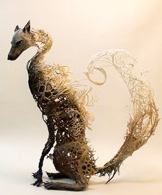 clever and riddled with secrets - Ellen Jewett - OOAK fox canine surrealist sculpture - inc fish, cephalopods, reef