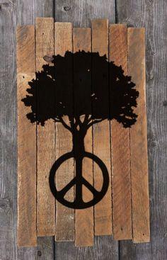 Peace Sign Tree Peace Tree Painting on Reclaimed by MookieWoodArt
