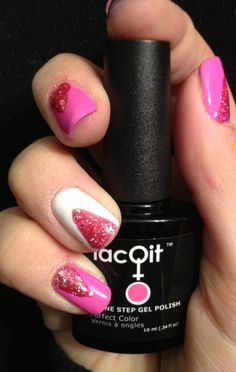 LacQit one step gel polish ,easy,quick,fun nail art - no wipe ,instantly dry ! Run for the Pink,Its a White out , A Flare for Pink