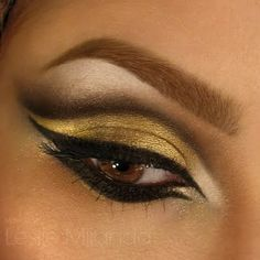 Amp up the glamour stakes with a bold gold cleopatra eye, the perfect sexy night look!