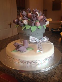 60th Birthday Giant Cupcake Plantpot Cake