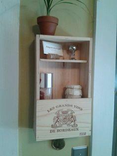 Cool wine box shelf!