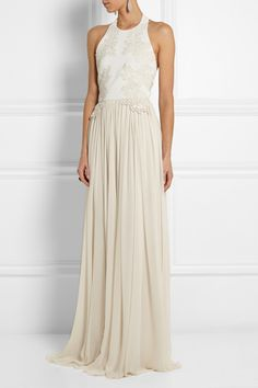 Elie Saab|Guipure lace-appliquéd stretch-knit and silk-chiffon gown|NET-A-PORTER.COM