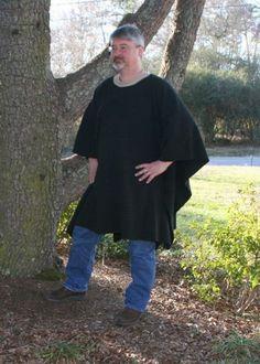 Make My Day Long Black Fleece Poncho | DonnasDesignsSC - Clothing on ArtFire