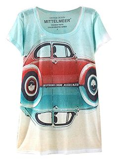 64ecd5ca KaiTingu Women's Short Sleeve Car Graphic Print Vintage T Shirt White  KaiTingu http://
