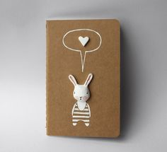 Altered moleskine journal  Bunny notebook diary by sweetbestiary