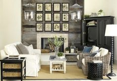 A fireplace gets a natural treatment with a collection of botanical prints hung in a grid.