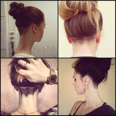 Digging the shaved nape. A way to manage the excessively hairy neck! Digging the shaved nape. A way to manage the excessively hairy neck! Undercut Hairstyles Women, Undercut Long Hair, Undercut Women, Undercut Girl, Growing Out Undercut, Nape Undercut Designs, Undercut Pixie, Pixie Haircuts, Pixie Hairstyles