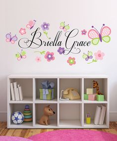 Another great find on #zulily! Butterflies & Flowers Personalized Decal #zulilyfinds