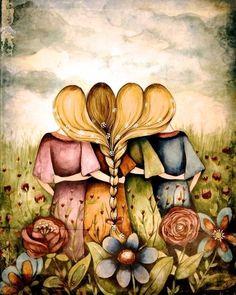 The four sisters best friends brisdemaid present art print, by Claudia Tremblay, Etsy Four Sisters, Sisters Art, Claudia Tremblay, Art Actuel, Psychedelic Art, Oeuvre D'art, Belle Photo, Fine Art Paper, Folk Art
