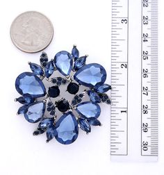 Beautiful rhinestone dark blue brooch bridal jewelry embellishment, which can be used for your DIY project - navy blue wedding bridal brooch bouquet, necklace, bracelet, ring pillow, invitations, cake decorations, event decor, crafts, scrap booking and much more!  Size: 2 inch high 2 inches wide Stone color: Ink blue, midnight blue and navy blue Metal: Antique silver  More NAVY BLUE, ROYAL BLUE brooches - https://www.etsy.com/shop/Crystalitzy?section_id=16200394&ref=shopsection_leftnav_4…