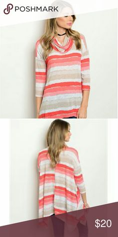 Mock Neck Striped Top 3/4 sleeve cowl neck striped slub  knit top. The fabric content is 95% polyester/5% spandex. The colors are coral,tan ,white. They come from a pet free/smoke free home. Check out my closet for other colors/styles+ more added soon. Tops Blouses