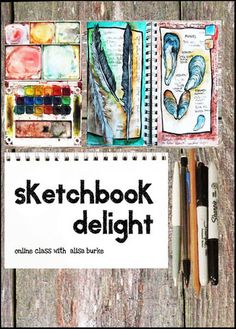 """Sketchbook Delight"" online art class by Alisa Burke. Her other classes look amazing too! Online Art Classes, Online Courses, Alisa Burke, Importance Of Time Management, Creative Class, Collage, Arts Ed, Drawing Sketches, Sketch Painting"