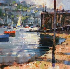 British Artist Chris FORSEY-Getting the Ferry, Fowey