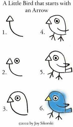 Ideas for bird doodle art fun Drawing Lessons, Drawing Videos For Kids, Easy Drawings For Kids, Art For Kids, Drawing Techniques, Art Lessons, Drawing Ideas, Drawing Tips, Drawing Hair